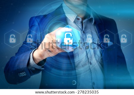 Shutterstock business, technology, internet and networking concept - businessman pressing make money button on virtual screens