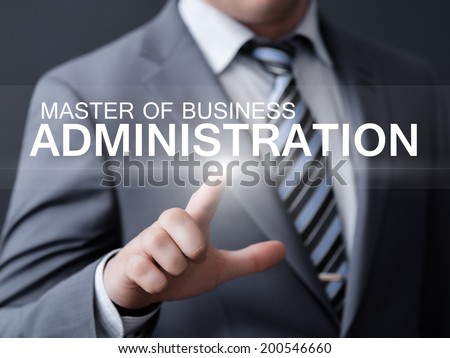 business, technology, internet and networking concept - businessman pressing master of business administration button on virtual screens  #200546660