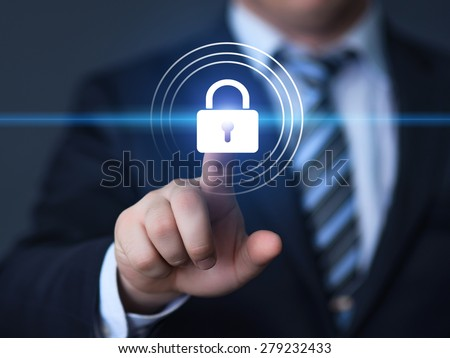 business, technology, internet and networking concept - businessman pressing security button on virtual screens
