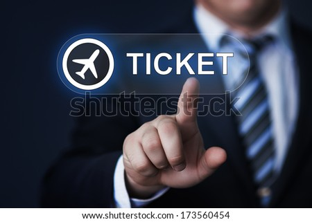 business technology internet and networking concept businessman pressing ticket button on virtual screens