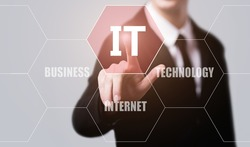 business, technology, internet and virtual reality concept - businessman pressing information technology button on virtual screens with hexagons and transparent honeycomb