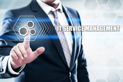 business, technology, internet concept on hexagons and transparent honeycomb background. Businessman pressing  it service management on virtual screen