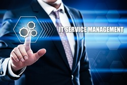 Business, technology, internet concept on hexagons and transparent honeycomb background. Businessman  pressing button on touch screen interface and select  it service management