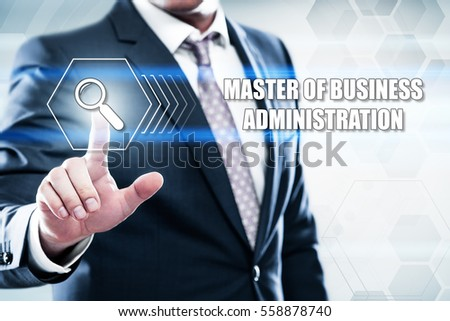 Business, technology, internet concept on hexagons and transparent honeycomb background. Businessman  pressing button on touch screen interface and select  master of business administration #558878740