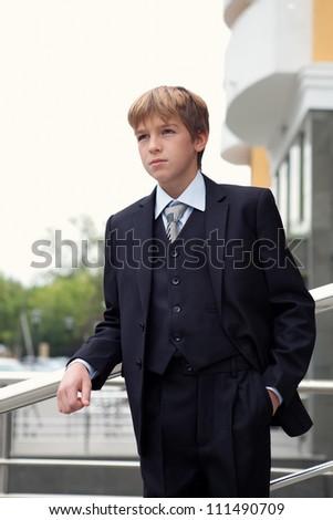 Business teenager looks forward