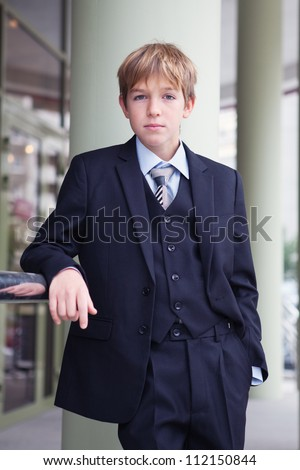 Business teenager looks forward