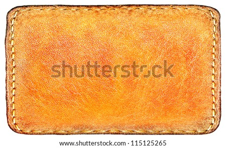Business texture of leather yellow and blank brown label close up view isolated over white background, perspective and successful concept of promotion products and items