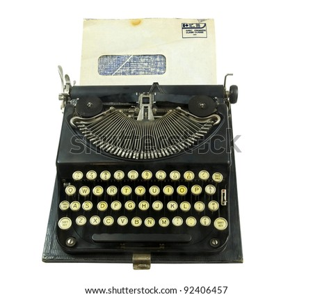 business the old-fashioned way with manual typewriter and window envelop on a white background