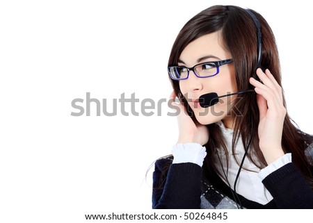 Business theme: beautiful businesswoman, operator in a work process. Isolated over white background.