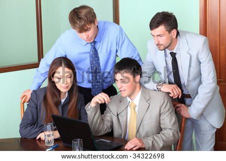 Business theme: business people in a work process in office. #34322698