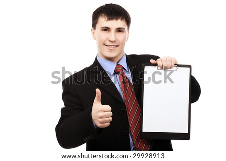 Business theme: handsome businessman on a presentation.