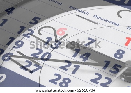 business time concept with watch and calendar