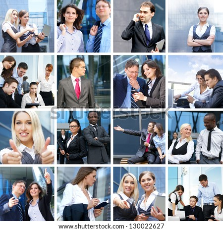 business time money people and success collage made of many different pictures