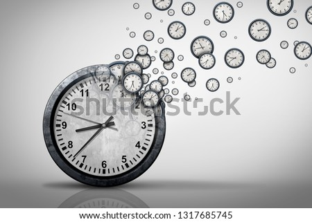 Business time plan concept and planning corporate or personal schedule or wasting minutes as a group of timepieces or clocks coming out of a large clock as a 3D illustration.