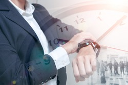 Business times, People looking at wristwatch overlay with time clock face for smart working hours or time schedule concept.