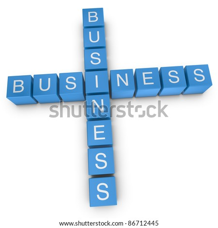 Business-to-business crossword on white background, 3D rendered illustration