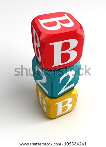 business to business red blue yellow box tower on white background