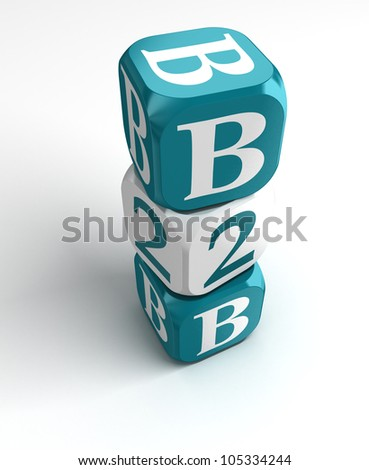 business to business white blue box tower on white background