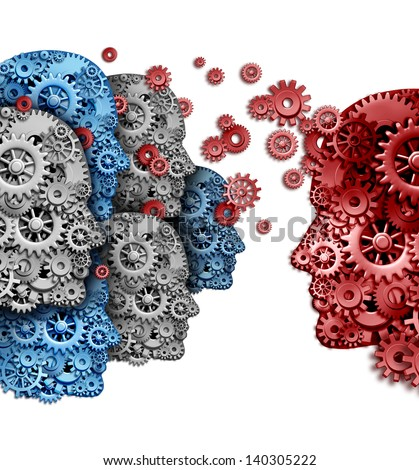 Business training group organization as a team of students learning from a mentor in red sharing a common vision for education success as gears and cogs shaped as a human head on a white background.