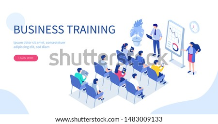 Business training or courses concept. Can use for web banner, infographics, hero images. Flat isometric illustration isolated on white background.