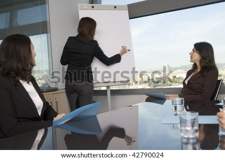 Business training where group of persons is wearing business clothes and sitting at a table with the teacher standing in front of a flip chart