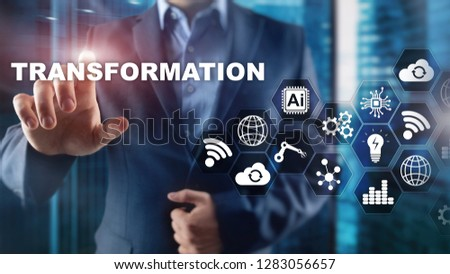 Business Transformation. Future and Innovation Internet and network concept. Abstract business background. Mixed Media. #1283056657