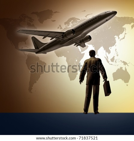 Business travel represented by a man and an airplane taking off with a global map in the background.