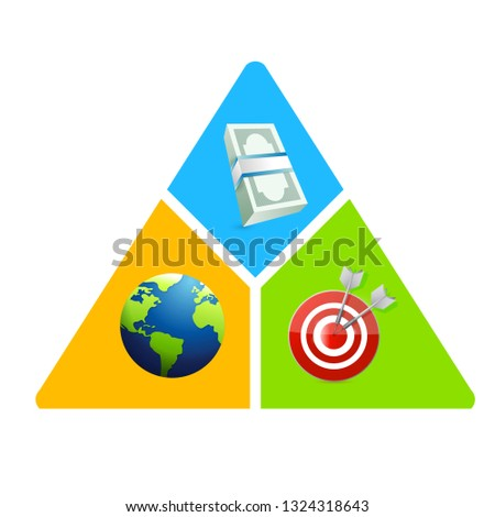 business triangle, money, globe, target diagram. illustration design isolated over a white background.