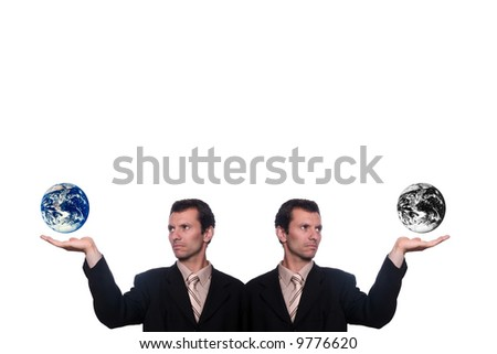 business twins holding earth result of polutions and war