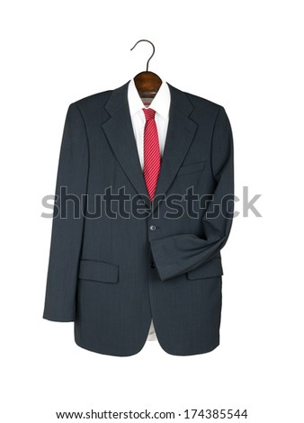 Business uniform. Jacket suit and tie on hanger, isolated