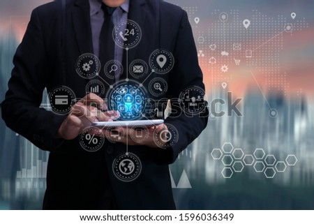 Business using tablet and world map with logistic network and city background, transport concept, Double exposure. Stockfoto ©