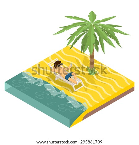 Business vacation. Businessman on beach under palm tree isometric