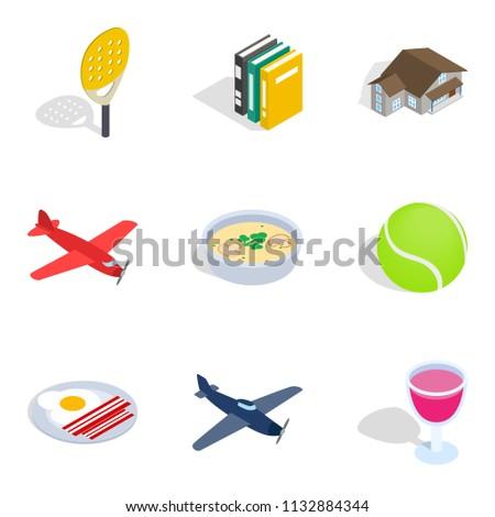 Business variety icons set. Isometric set of 9 business variety icons for web isolated on white background