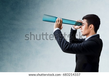 Business Vision and Leadership Concept, Businessman Looking or Searching for Success via transparent Telescope monocular, Side view #683214337