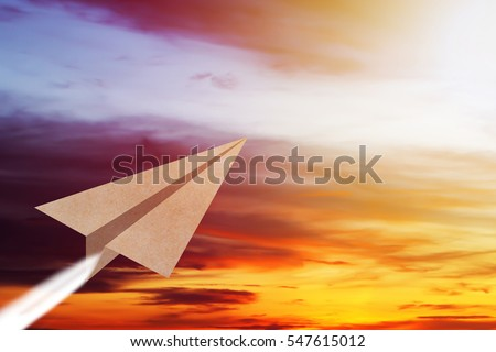 Business vision concept, paper plane fly on the sky, copy space #547615012