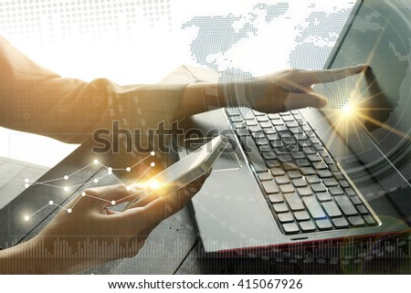 business with smartphone. connection technology interface ,business concept, online concept , business idea