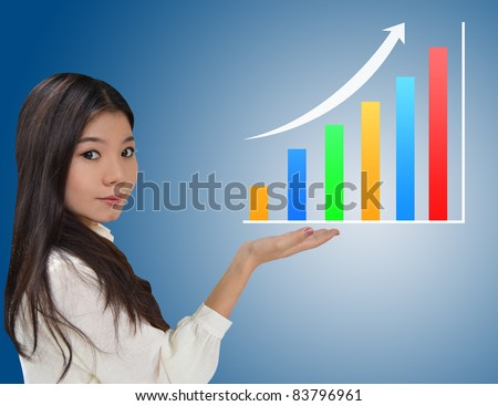 Business woman and a graph showing growth of business
