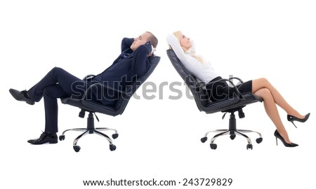 business woman and business man sitting on office chairs isolated on white background