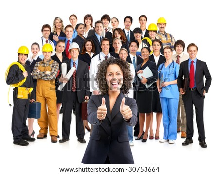 Business woman and business people . Over white background