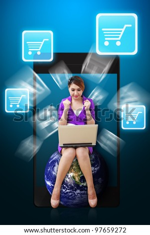 Business woman and Chart icon from mobile phone : Elements of this image furnished by NASA