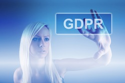 Business woman and concept of GRPR - general data protection regulation