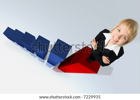 business woman and 3d graph