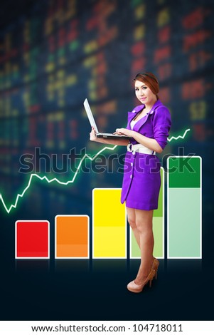 Business woman and graph report