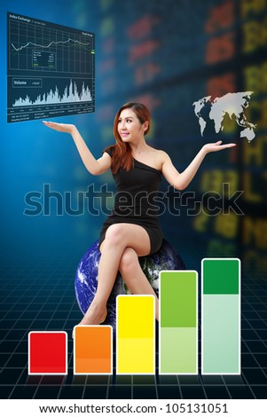 Business woman and graph report : Elements of this image furnished by NASA