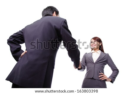 Business woman and man smiling and doing a handshake isolated on white background