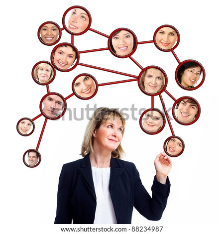 Business woman and virtual community. Group of people. Isolated on white background.