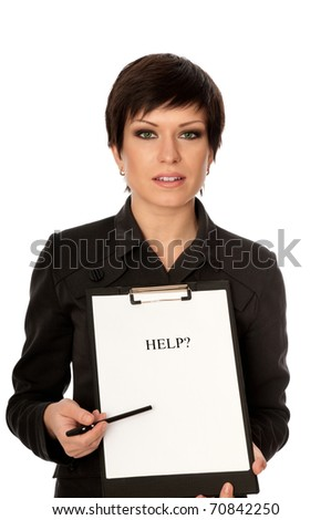 Business woman asking for help from her partners and shareholders