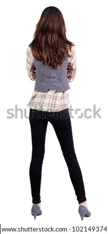 business woman. backside.  standing beautiful brunette . Young girl  looking ahead of yoursel. Rear view people collection.  backside view of person. Isolated over white background.