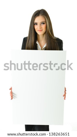 Business Woman Blank White Board