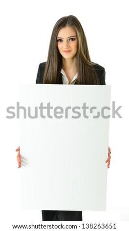 Business Woman Blank White Board